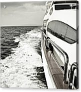 Luxury Yacht Sailing At High Speed In Acrylic Print
