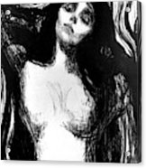 Madonna, Lithograph By Edvard Munch Dedicated To Dr Bucher Acrylic Print