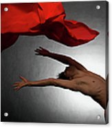 Male Ballet Dancer Dancing With A Red Acrylic Print