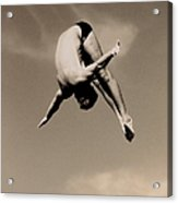Male Diver In Mid-air Acrylic Print