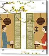 Man And Woman Drinking Coffee View From Acrylic Print