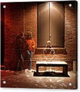 Man And Woman Leaning Against A Brick Acrylic Print