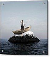 Man In Boat Stuck On A Rock Acrylic Print