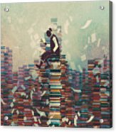 Man Reading Book While Sitting On Pile Acrylic Print