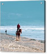 Man Riding On A Brown Galloping Horse On Ayia Erini Beach In Cyp Acrylic Print