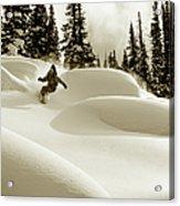 Man Snowboarding B&w Sepia Tone Acrylic Print