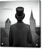 Man Standing Front Of Cathedral Acrylic Print