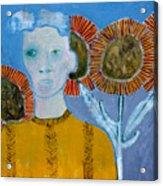 Man With Sunflowers Acrylic Print
