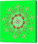 Mandala Flowering Series#3. Green Acrylic Print