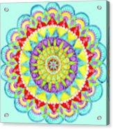 Mandala Of Many Colors On Turquoise Acrylic Print