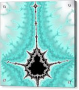 Mandelbrot Fractal Black Aqua White Vertical Acrylic Print