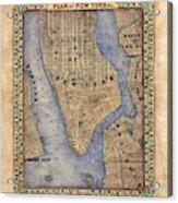 Manhattan New York Antique Map Brooklyn Hand Painted Acrylic Print