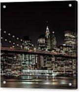 Manhattan Skyline And Brooklyn Bridge Idyllic Nightscape - Panoramic Acrylic Print