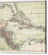Map Od The Caribbean 1860 Acrylic Print