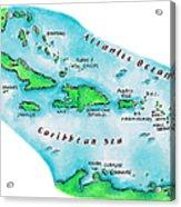 Map Of Caribbean Islands Acrylic Print
