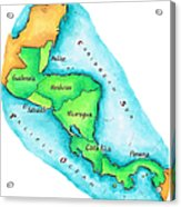 Map Of Central America Acrylic Print
