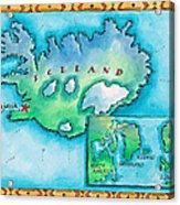 Map Of Iceland Acrylic Print