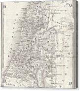 Map Of Palestine, Steel Engraving Acrylic Print