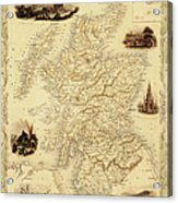 Map Of Scotland From 1851 Acrylic Print
