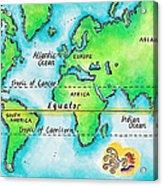 Map Of The World & Equator Acrylic Print