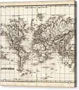Map Of The World 1842 Acrylic Print