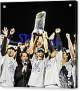 Mariano Rivera Holds Trophy As New York Acrylic Print