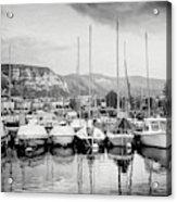 Marina Geneva Switzerland Black And White Acrylic Print