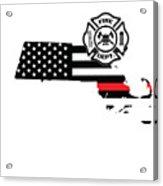 Massachusetts Firefighter Shield Thin Red Line Flag Acrylic Print