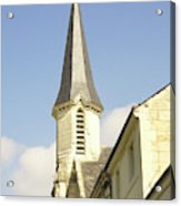 medieval church spire in France Acrylic Print