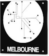 Melbourne White Subway Map Acrylic Print