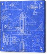 Merry Go Round Amusement Carousel Vintage Patent Blueprint Acrylic Print
