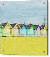 Mersea Island Beach Hut Oil Painting Look 1 Acrylic Print