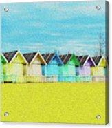 Mersea Island Beach Hut Oil Painting Look 2 Acrylic Print