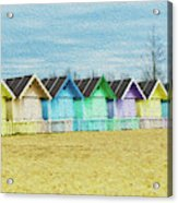 Mersea Island Beach Hut Oil Painting Look 3 Acrylic Print