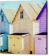 Mersea Island Beach Hut Oil Painting Look 6 Acrylic Print