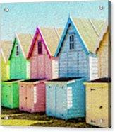 Mersea Island Beach Hut Oil Painting Look 7 Acrylic Print