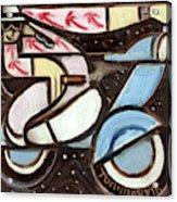 Miami Beach Man Riding A vespa in Outer Space Art Print Acrylic Print