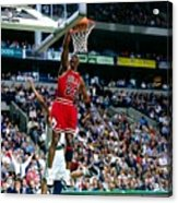 Michael Jordan Dunks The Ball Acrylic Print