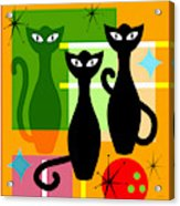 Mid Century Modern Abstract Mcm Bowling Alley Cats 20190113 Square Acrylic Print