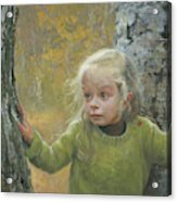 Mila Between Two Birches Acrylic Print