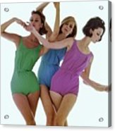 Models In Rose Marie Reed Swimsuits Acrylic Print