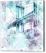 Modern Art Nyc Manhattan Bridge - Jazzy Watercolor Acrylic Print