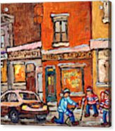 Molly And Bill's Duluth Near Coloniale And St Dominique C Spandau Plateau Mont Royal Hockey Artist  Acrylic Print