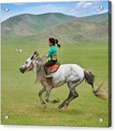 Mongolia, Naadam Festival, Horse Racing Acrylic Print