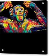Monkey Drummer Gift For Musicians Color Design Acrylic Print