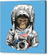 Monkey In Astronaut Suit. Hand Drawn Acrylic Print
