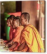 Monks At Breakfast, Wat Monastery Acrylic Print