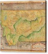 Montana Custom Map Art Rivers Map Hand Painted Acrylic Print