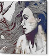 Monument - Red 'n Blue - Sleeping Beauty, Woman With Skyline Tattoo And Bird Acrylic Print