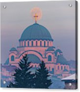 Moon In The Cross Of The Magnificent St. Sava Temple In Belgrade Acrylic Print